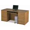 Bestar Embassy executive desk kit including assembled pedestals in Cappuccino Cherry