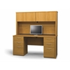 Bestar Embassy credenza and hutch kit including assembled pedestals in Cappuccino Cherry