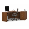 Bestar Embassy L-shaped workstation kit including assembled pedestal in Tuscany Brown