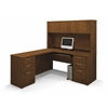 Embassy L-shaped workstation kit including assembled pedestal in Tuscany Brown