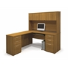 Embassy L-shaped workstation kit including assembled pedestal in Cappuccino Cherry