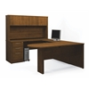 Embassy U-shaped worksation kit including assembled pedestal in Tuscany Brown