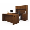 Bestar Embassy U-shaped worksation kit including assembled pedestal in Tuscany Brown