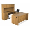 Embassy U-shaped worksation kit including assembled pedestal in Cappuccino Cherry