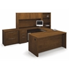 Embassy U-shaped worksation kit including accessories and assembled pedestals in Tuscany Brown
