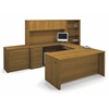 Bestar Embassy U-shaped worksation kit including accessories and assembled pedestals in Cappuccino Cherry