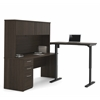 Embassy L-Desk with Hutch including Electric Height Adjustable Table in Dark Chocolate