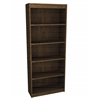 Bestar Manhattan L-shaped workstation with lateral file and bookcase in Secret Maple & Chocolate
