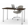 "Bestar Bestar 24"" x 48"" Table with round metal legs in Chocolate"