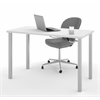 "Bestar Bestar 24"" x 48"" Table with square metal legs in White"