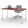 "Bestar Bestar 30"" x 60"" Table with round metal legs In Bordeaux"