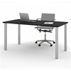 "Bestar Bestar 30"" x 60"" Table with square metal legs in Black"