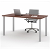 "Bestar Bestar 30"" x 60"" Table with square metal legs in Bordeaux"