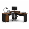 Hampton corner workstation in Tuscany Brown & Black