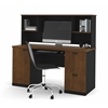 Bestar Hampton credenza and hutch in Tuscany Brown & Black