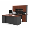 Bestar Manhattan U-shaped workstation with lateral file and bookcase in Bordeaux & Graphite