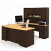 Bestar Manhattan U-shaped workstation in Secret Maple & Chocolate