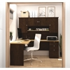 Bestar Manhattan L-shaped workstation in Secret Maple & Chocolate