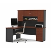 Manhattan L-shaped workstation with lateral file and bookcase in Bordeaux & Graphite