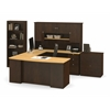 Manhattan U-shaped workstation with lateral file and bookcase in Secret Maple & Chocolate