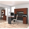 Bestar Manhattan L-shaped workstation with lateral file and bookcase in Bordeaux & Graphite