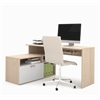 Bestar Modula L-shaped Workstation in Northern Maple & White
