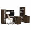 Bestar Jazz Corner Workstation with lateral file and bookcase in Tuxedo