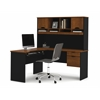 Bestar Innova L-shaped desk in Tuscany Brown & Black