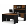 Bestar Innova U-shaped workstation kit with accessories in Tuscany Brown & Black