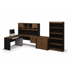 Bestar Innova L-shaped workstation kit with accessories in Tuscany Brown & Black