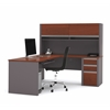 Bestar Connexion L-shaped workstation with hutch in Bordeaux & Slate