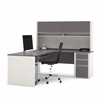 Bestar Connexion L-shaped workstation with hutch in Slate & Sandstone
