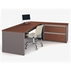 Connexion L-shaped workstation including assembled oversized pedestal in Bordeaux & Slate