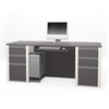 Bestar Connexion Executive desk including assembled pedestals in Slate & Sandstone