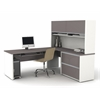 Bestar Connexion L-shaped workstation including assembled oversized pedestal in Slate & Sandstone