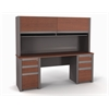 Bestar Connexion Credenza and hutch including assembled pedestals in Bordeaux & Slate