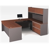 Bestar Connexion U-shaped workstation including assembled oversized pedestal in Bordeaux & Slate