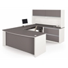 Bestar Connexion U-shaped workstation including assembled oversized pedestal in Slate & Sandstone