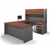 Bestar Connexion U-shaped workstation including assembled pedestal in Bordeaux & Slate