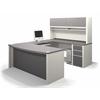 Bestar Connexion U-shaped workstation including assembled pedestal in Slate & Sandstone