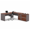 Bestar Connexion L-shaped workstation with lateral file in Bordeaux & Slate
