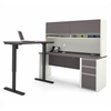 Connexion L-Desk with Hutch including Electric Height Adjustable Table in Slate & Sandstone