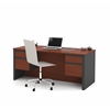 Bestar Prestige + Executive Desk with Dual Half Peds in Bordeaux & Graphite