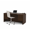 Prestige + Executive Desk with Dual Half Peds in Chocolate