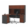 Prestige + L-shaped workstation including two pedestals in Bordeaux & Graphite