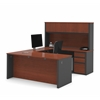 Bestar Prestige + U-shaped workstation including two pedestals in Bordeaux & Graphite