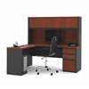 Prestige + L-shaped workstation including one pedestal in Bordeaux & Graphite