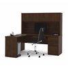 Bestar Prestige + L-shaped workstation including one pedestal in Chocolate