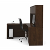 Prestige + L-shaped workstation including one pedestal in Chocolate