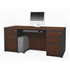 Prestige + executive desk including assembled pedestals in Bordeaux & Graphite